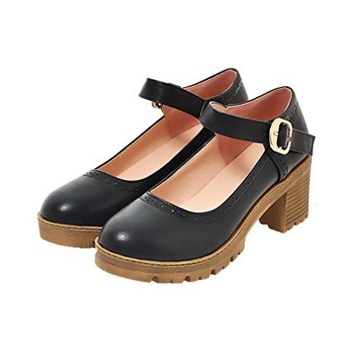Black Pumps Pu Heels Toe Solid WeiPoot Buckle Closed Kitten Women's Shoes PFxwEAqvZ
