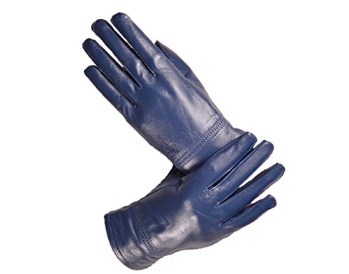 Lederhandschuhe für Damen - Fingerhandschuhe - Blau - Für Damen-Handumfang: 19 cm