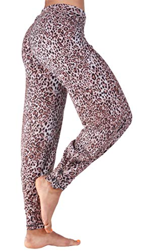 (Hali Cali Women's Straight Casual Loose Wide Leg fold Over Comfy Palazzo Pants for Women (L, Leopard Brown with Buttons))