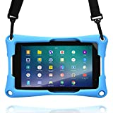 7'' inch Tablet case, Cooper Trooper 2K Shoulder Strap Rugged Heavy Duty Tough Bumper Protective Drop Shock Proof Rubber Silicon Carry Kids Toy Work Holder Carrying Cover Bag, Stand (Blue)