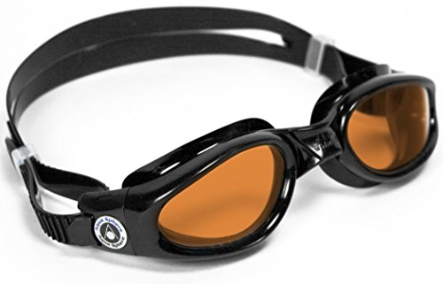 Aqua Sphere Kaiman Swim Goggles with Amber Lens (Black). UV Protection Anti-Fog Swimming Goggles for Adults (Free Amber Lens)
