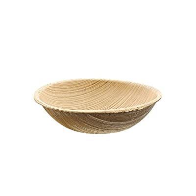 CiboWares Premium Round Natural Palm Leaf Bowl, Eco-Friendly and Disposable for Home and Catering, Package of 25