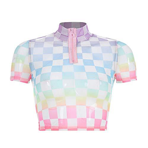 Women Harajuku Kawaii Checkerboard T-Shirt Turtleneck Plaid Front Zipper Streetwear Crop Tops (M, Pink) (Fairy Kei)