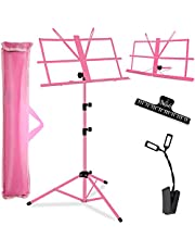 Music Stand, Kasonic Professional Stage Folding Sheet Music Stands; Height Adjustable, Lightweight & Portable, Pink Color with Carrying Bag/LED light/Music Sheet Clip, for Instrumental