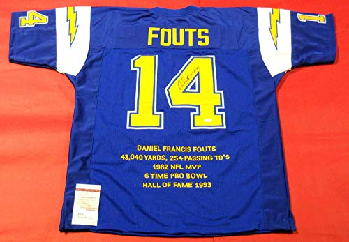DAN FOUTS AUTOGRAPHED SAN DIEGO CHARGERS STAT JERSEY JSA HOF LAST ONE ()