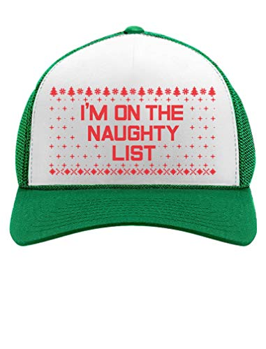 (I'm On The Naughty List Funny Holiday Ugly Christmas Party Trucker Hat Mesh Cap One Size)
