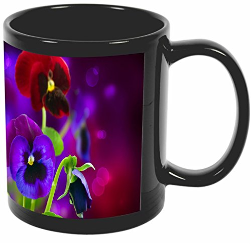 Pansy Flower Pictures (Rikki Knight Purple and Red Spring Pansy Flowers Design 11 oz Photo Quality BLACK Ceramic Coffee Mugs Cups - Dishwasher and Microwave Safe)