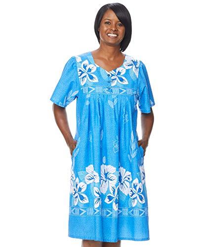 AmeriMark Womens Patio Dress Lounger Floral Print Border Short Sleeve and Pockets Royal 2X (Petite Dress Patio)