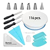 PROVACTO Complete Cake Decorating Kit, Baking & Cake Decorating Supplies - Turntable, Stainless Steel Frosting Tips, Coupler, Icing Spatulas, Scrapers, Silicone Pastry Bags + BONUS 100 Disposable Bags