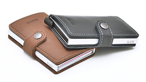 Leather RFID Credit With Single Holder Card Wallet Genuine Blocking cash Brown Money Mini 6q5zxd6nRW