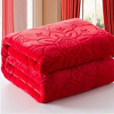 Handicraftworld Cotton 300 TC Blanket (Red_King)
