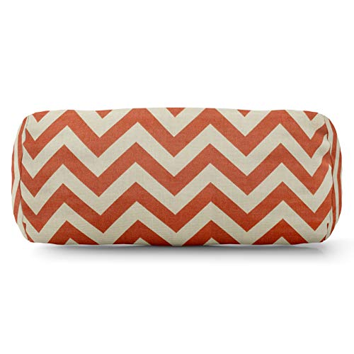 Majestic Home Goods Burnt Orange Chevron Indoor/Outdoor Round Bolster Pillow 18.5'' L x 8'' W x 8'' H by Majestic Home Goods