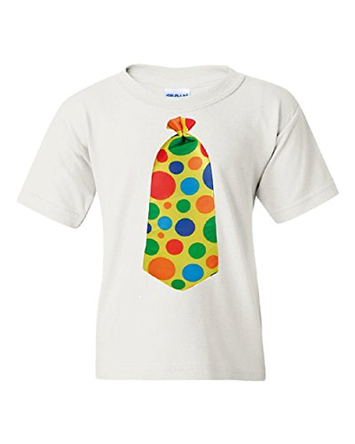 Funny Clown Tie Short Sleeve Tee T Shirt, 100% Cotton, Organic Ink (12 months, white) ()