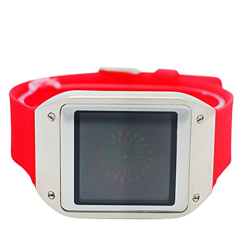 Techno Pave Digital Touch Screen Gear Square Face Silver PlatedBezel with Red Rubber Band Watch