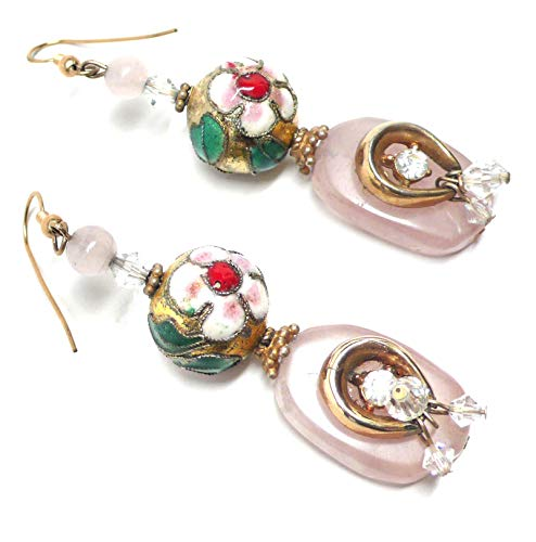 - Rose Quartz Earrings Vintage Rhinestone Clasp Chinese Cloisonne OOAK