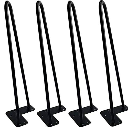 Hairpin Table Legs (Set of 4), Heavy Duty Satin Black Steel Rods for Industrial Design Look (16 Inch) ()