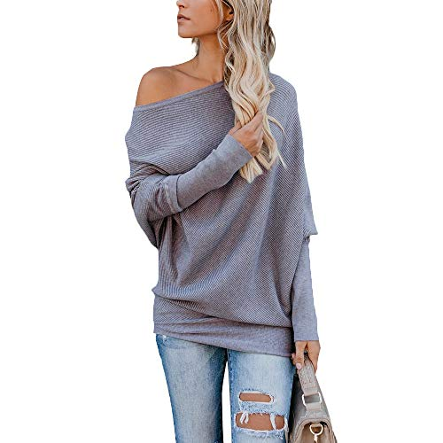 houlder Batwing Sleeve Ribbed Shirt Loose Pullover Tops Grey ()