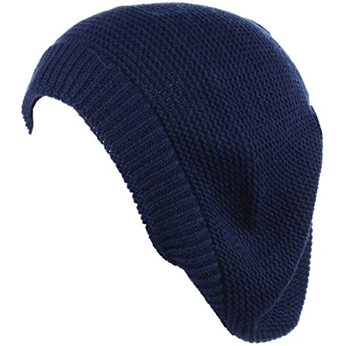Navy Hat Womens Knit - BYOS Chic French Style Lightweight Soft Slouchy Knit Beret Beanie Hat in Solid Navy