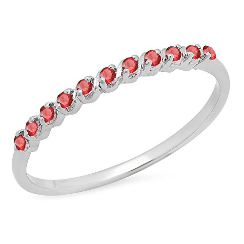 0.12 Carat (ctw) Sterling Silver Round Ruby Ladies Wedding Stackable Band (Size 4.5) (Ruby Band Wedding Anniversary)
