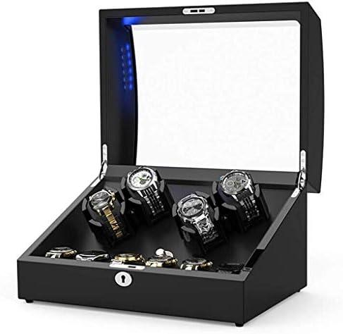 ウォッチワインダーウォッチワインダー自動超静音4 + 6の回転モーターボックスハイエンド機械式巻ブラック腕時計ボックスの振動台のデバイス表示装飾ボックス