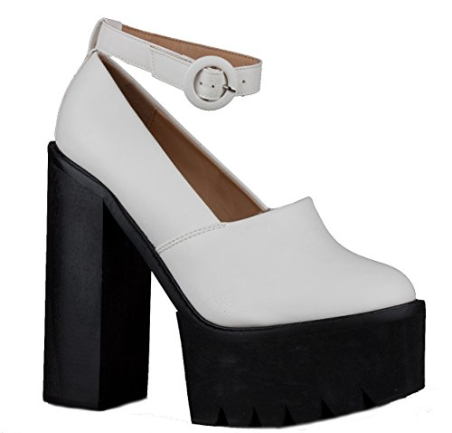 WOMENS LADIES CHELSEA MID HIGH HEEL BOOTIES HEELED BLOCK PLATFORM WINTER ANKLE BOOTS SIZE 3-8 Style 1 - White Rlt0MDyw