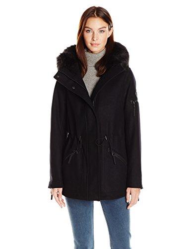 Calvin Klein Women's Anorak Wool Faux Fur Trimmed Coat, Black, L