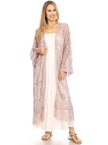 Anna-Kaci Boho Long Fringe Crochet Knit Kimono Swimwear Beach Cover Up Cardigan,Lilac,Small ()