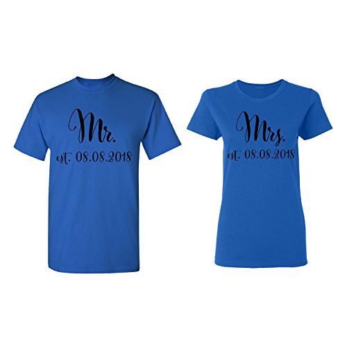 (Mr. - Mrs. Personalized Couple Matching Shirt Set Newly Married Customized Valentines Day Men Royal Blue/Women Royal Blue)