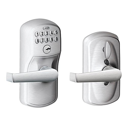 Schlage FE595 PLY 626 ELA Plymouth Keypad Entry with Flex-Lock and Elan Style Levers, Brushed Chrome ()