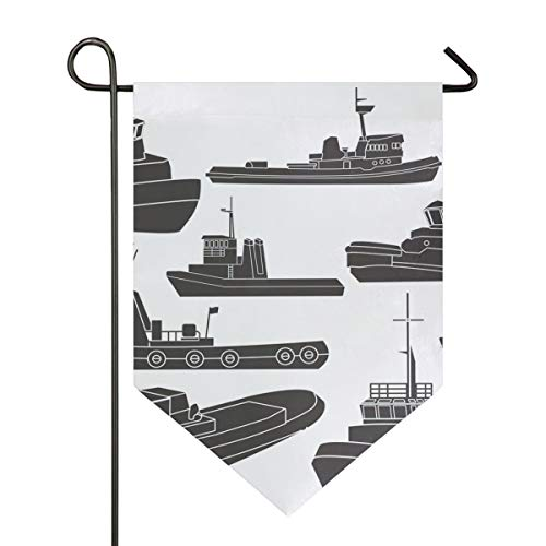 Black and White Tugboat Clipart Garden Flag Double Sided Polyester Yard Flag for Home House Outdoor Decoration 12x18.5 Inch ()