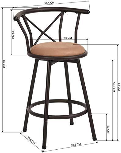Taburete de bar Juego de 2 sillas de bar Taburetes de bar industriales de estilo vintage con diseno de reposapies Placa giratoria 29 Acolchado de espuma para sala de estar o cocina