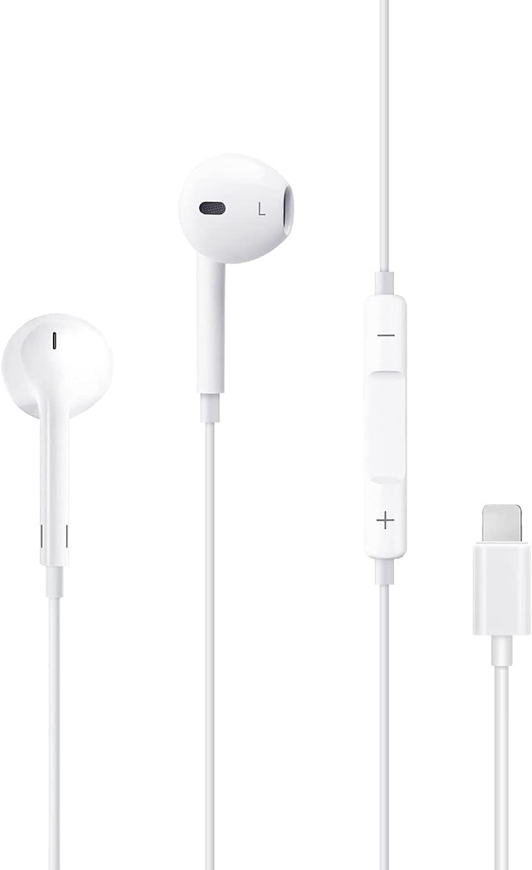 Wired Headphones Earbuds Built-in Microphone and Volume Control Headset Stereo Sound in-Ear Plug and Play Earphones Compatible with iPhone 12/12 Pro/11/11 Pro/SE/Max/X/XS/XR/8/8 Plus/7/7 Plus/iPad