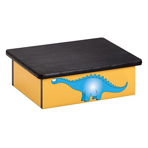 Pediatric Equipment - 20'' x 16'' x 7'' Dino Days Yellow Laminate Pediatric Step Stool - CL-10-DD by Miller Supply Inc