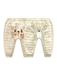 Monvecle Unisex Baby 2 Pack Newborn to Toddle Long Cotton Pants