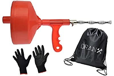 Drum Auger, 25-FT Flexible Steel 1/4-Inch Dia. Drain Snake Cable with Plumbing Gloves and Storage Bag | Removes Drain Clogs in Kitchen and Bathroom Sinks, Bathtub and Shower Drains