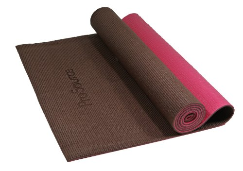 ProSource Premium High Density Exercise Yoga Mat with Comfort PVC Foam and Carrying Straps, Brown/Pink