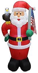 6 Foot Tall Lighted Christmas Inflatable Patriotic Santa...