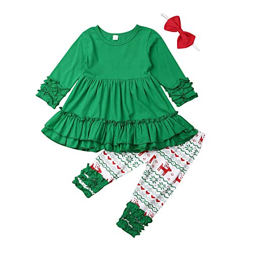 Toddler Baby Girl Christmas Boutique Outfits Ruffle Tunic Long Sleeve Tops Dress+Leggings Pants Fall Clothing Set (Ruffle Layer-Green, 2T/3T) (Baby Girl Clothing Boutique)