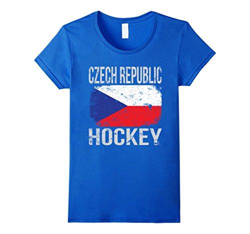 Czech Republic Ladies (Womens Czech Republic Hockey, Czech Flag T-Shirt Medium Royal Blue)