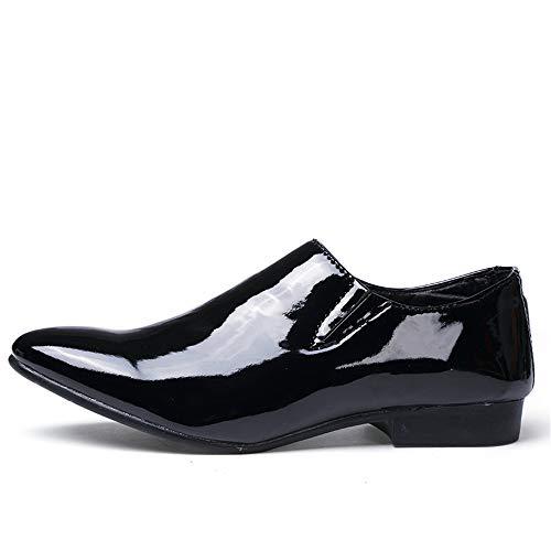 scarpe Mocassini pelle da leggere di Sfilata On Color punta Personality The brevettate Nero Off lavoro Casual a Ofgcfbvxd passeggio in da formali Scarpe Calzature moda Oxford Mens Slip qwxzI44U