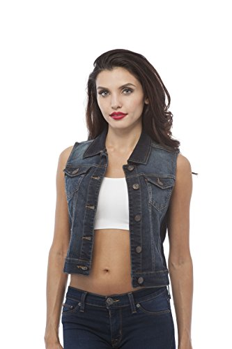 Sleeveless Button Up Jean Denim Jacket Vest (Medium, Dark blue) (Dark Denim Jean Jacket)