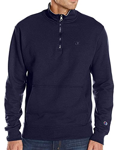 Champion Men's Powerblend Quarter-Zip Fleece Jacket, Navy, Small