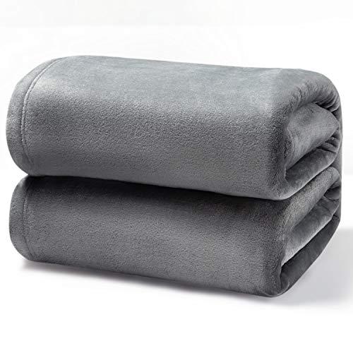 Bedsure Fleece Blanket Queen Size Ash Grey Lightweight Queen Blanket Super Soft Cozy Microfiber Blanket