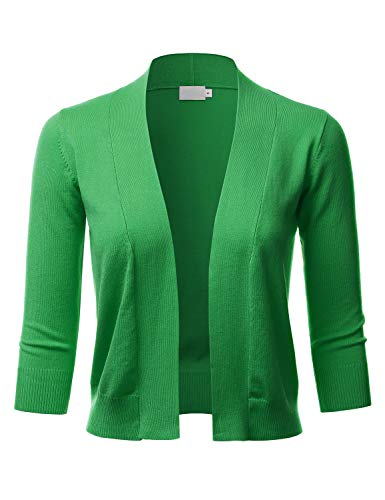LALABEE Women's Classic 3/4 Sleeve Open Front Cropped Bolero Cardigan-APPLEGREEN-L