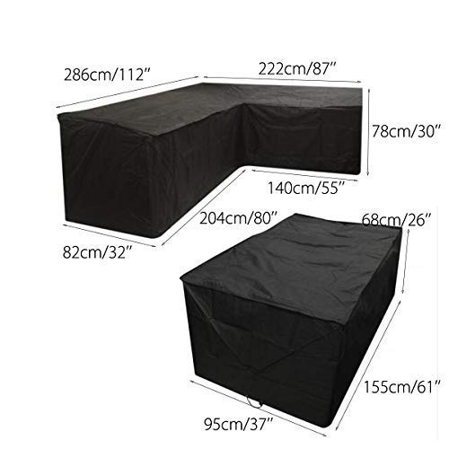 Black Left Hand L-Shaped Sofa Cover & Rectangular Table Cover Set for Outdoor Patio Waterproof & Dustproof Furniture Protection (2 Sizes Together) dDanke