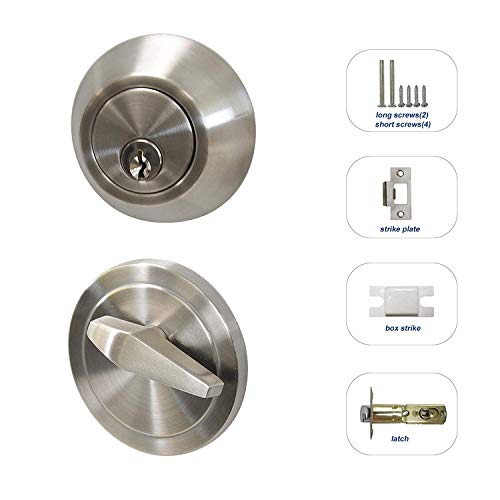 All Keyed Same Entry Door Knobs with Single Cylinder Deadbolt for Exterior Front Doors, Satin Nickel Finish, Keyed Alike for 6 Sets by Knobonly (Image #4)
