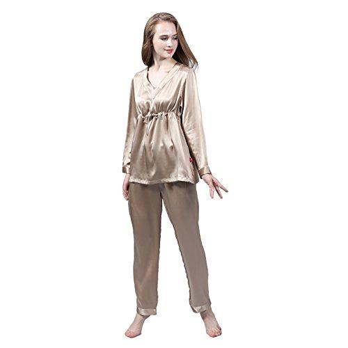 LULUSILK Conjunto de Pijama Largo de Seda 19 Momme Escote V con Cordón Café Claro