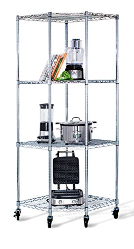 Trinity EcoStorage 4Tier NSF Corner Wire Shelving Rack with Wheels 27 by 17 by 13 by 17 by 72Inch Chrome