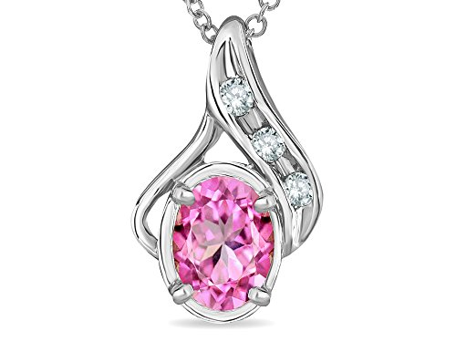 (Star K Oval 7x5mm Created Pink Sapphire Drop Pendant Necklace 14 kt White)