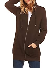 Women's Casual Zip Up Fleece Hoodies Pockets Tunic Sweatshirt Long Hooded Jacket
